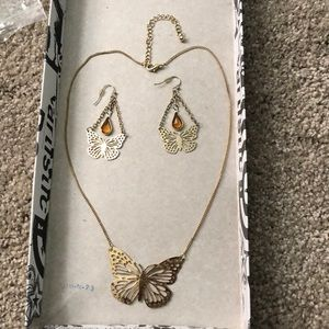 Jewelry - Butterfly earrings and necklace